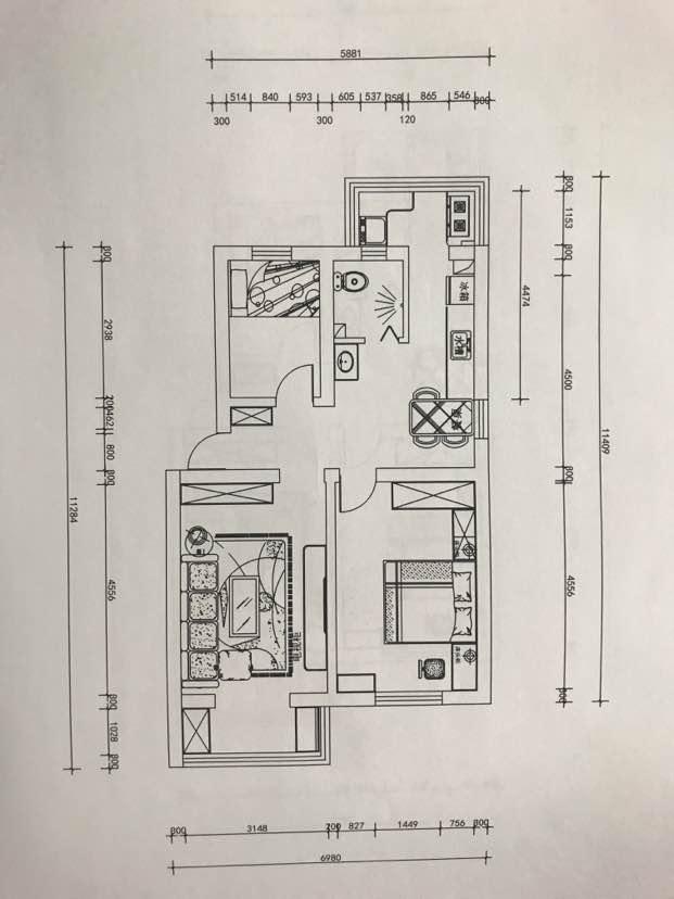 76平 2室1厅1厨1卫