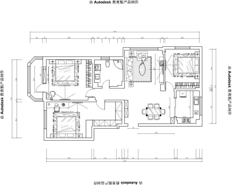 巴黎花园130.00㎡ 三室两厅