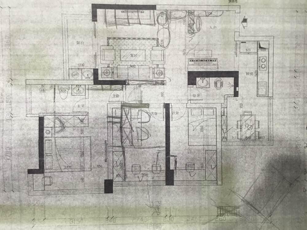70.00㎡ 三室二厅一厨一卫 现代简约