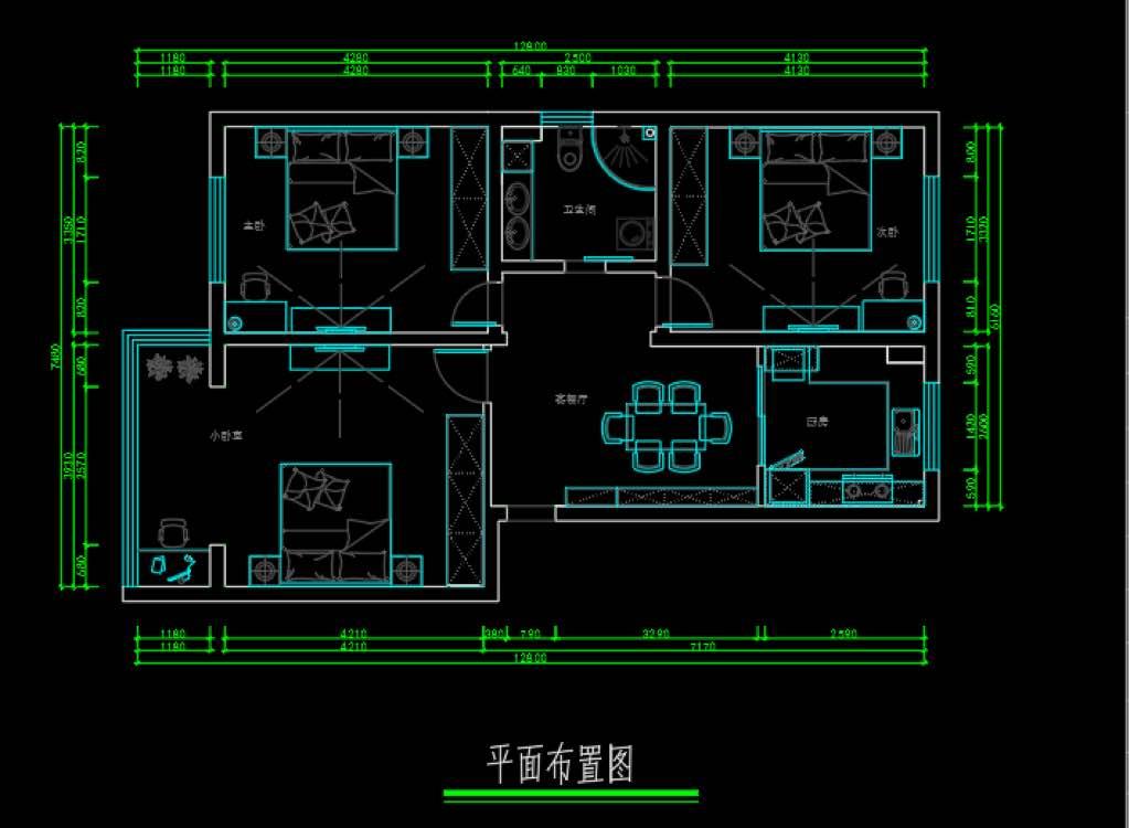 100.00㎡ 三室二厅一厨一卫 北欧风格