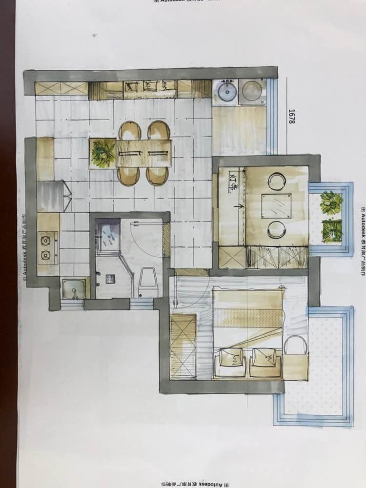 50.00㎡ 二室一厅一厨一卫 北欧风格